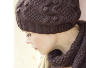 Hand knit women set Scarf and hat wool brown rustic halloween