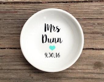 Ring Dish | Mrs | Wedding Date | Ring Holder | Engagement Gift | Jewelry Dish