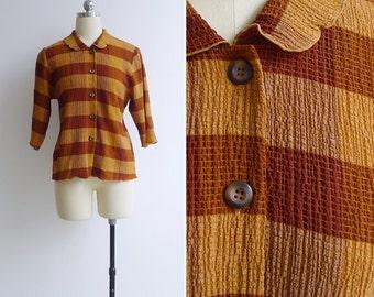 Vintage 80's 'Autumn Season' Brown Checkered Frill Collar Blouse M-L