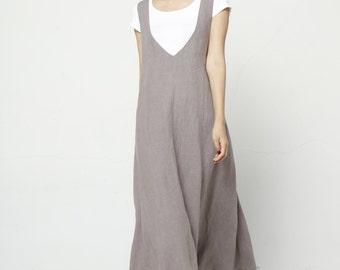 Maxi Linen Straps Dress Vest Dress Sleeveless Summer Dress - NC681