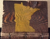 Handmade Rustic Reclaimed Wooden Key Holder Hook Minnesota State