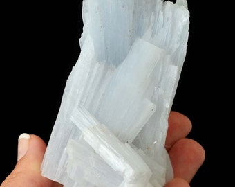 "Rare Huge 3.9"" ANHYDRITE Specimen + Stand aka Angel Wing, Angelite Healing Crystal and Stone for Meditation #XQ05"
