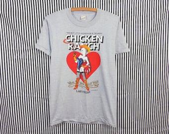 Vintage 80s Chicken Ranch Brothel Las Vegas Screen Stars T-Shirt Mens S / Womens M