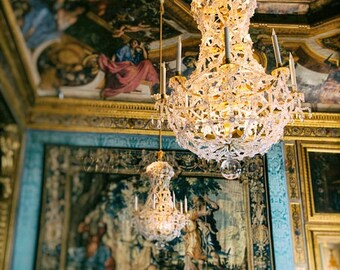 Chandelier Photo, French Architecture, Gold Decor, Chandelier Art, Blue And Gold Print, Romantic Home Decor, Dreamy Photography, Bedroom Art
