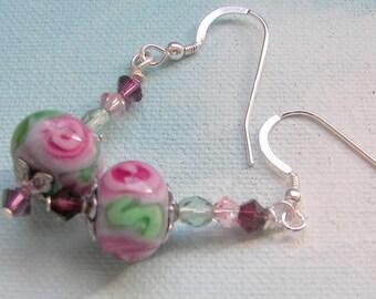Pink Flower Lampwork Earrings, Lampwork and Crystal Beaded Jewelry,  Dangling Spring Earrings, Easter Earrings, Pink Rose Lampwork Earrings
