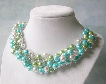 Bridesmaid Necklace, Lime Green Turquoise and White Chunky Pearl Necklace, Summer  Beach Theme Wedding, Spring Necklace, Tropical Jewelry