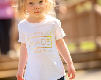 Fearfully Wonderfully Made Baby and Toddler T-shirts and Bodysuits - Psalm 139 Bible Verse Graphic Tees and Bodysuits