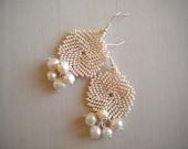 RESERVED! Creamy white freshwater pearl earrings, champagne wedding jewelry, june birthstone, peyote seed beaded flat round ivory earrings