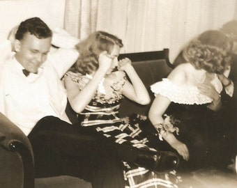 Attack of the Wrist Corsage - Vintage Photo - Orchids - Oblivious Boyfriend - Party Dresses - Funny Photo - Snapshot
