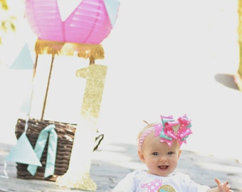 Hot Air Balloon Birthday Tutu Outfit -Balloon Birthday Party-Up Up and Away Theme Tutu Set - Pink Aqua Gold Outfit *Bow NOT Included*