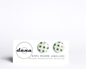 mint studs stars ear studs resin stud earrings simple post earrings recycled jewelry vinyl record jewelry gift for her funky jewelry