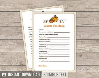 Wishes for Baby Card - Little Pumpkin Baby Shower - Fall Neutral - Baby Shower Game - INSTANT DOWNLOAD - Printable PDF with Editable Text