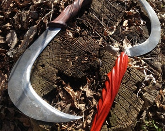 Scythes of the Sons of Ares - Custom carved scythes inspired by Red Rising
