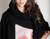 Poncho shawl Black Plus Size, Women tassel Fringe wrap, Eco fashion Blanket wool felted with fringes and tassels at the edge