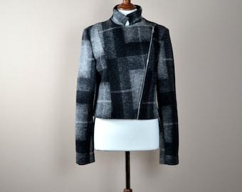 Bike jacket, leather bike jacket, tartan jacket, tartan blazer, wool jacket,  black jacket, cropped jacket, women's clothing