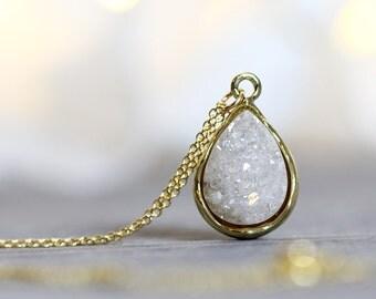 White Druzy Necklace - Druzy Teardrop Necklace - Druzy Jewelry - Sparkly Iridescent Necklace - White Druzy Pendant - Gift for Women