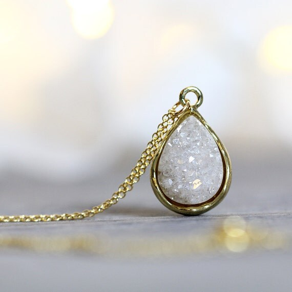 White Druzy Necklace - Jewellery Gift for Women