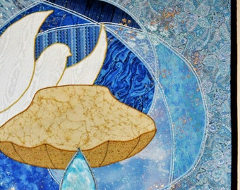 Baptismal Dove and Shell Wall Hanging, Blue Swirls with Metallic Highlights