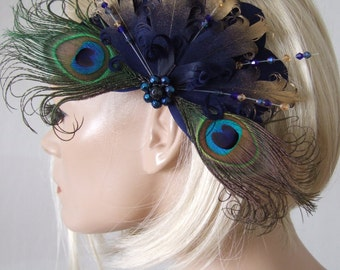 "Bridal Navy Gold Goose Nagoire and Peacock Feathers with Crystals ""Eilish"" Fascinator Clip. Bride Dance Dancing Bridesmaids Peacock Party"