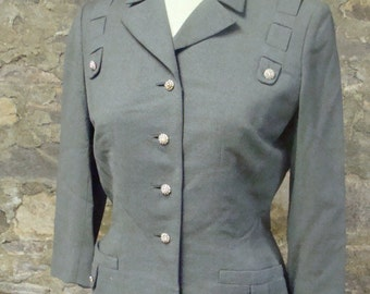 1940's WOOL SUIT JACKET fitted waist blazer gray S