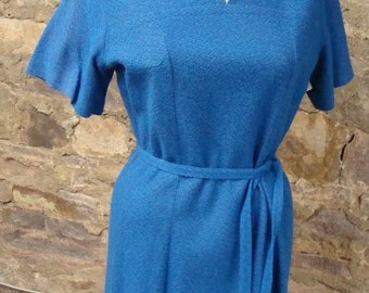 BLUE SHIFT DRESS aqua melange vintage 1960's 60's M