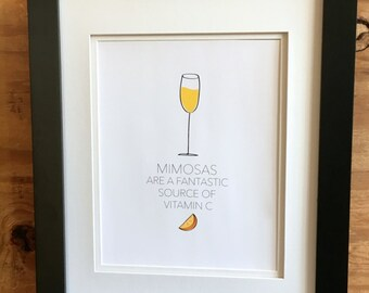 Mimosas / Brunch, Champagne, Kitchen Decor, Bar decor, Gift for her, Gift for him, Apartment
