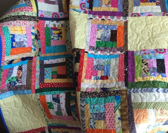 """A Liberated 40"""" X 55.75"""" Courthouse Steps Scrap Quilt"""
