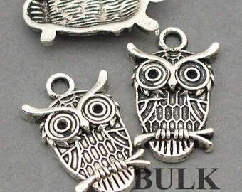 Owl Charms BULK order Antique Silver 30pcs pendant beads 14X23mm CM0024S