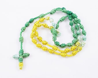 Knotted Cord Rosary, Kelly Green & Yellow - Hospital Safe and Great for Small Children, Baptism, First Communion, Christmas Gift - Hand Dyed
