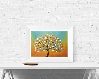 Blue & Gold Abstract Tree Print - Wall Art Print in Gold and Turquoise by Louise Mead - Fine Art Giclee Print of Metallic Tree
