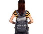 Black Backpack With Elephant Printed Fabric Handmade Hmong Thailand (BG7631-2C12)