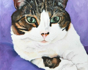 "Custom pet portrait hand painted on a 10"" x 14"" canvas, cat portrait, pet painting, cat lover gift, Tabby cat"
