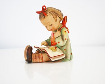 "Vintage Hummel ""Little Book Worm"" Girl US Zone Germany Book and Orange Bib Polka Dots Hair Bow RARE 1946-1948"