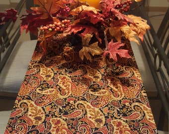 Fall Table Runner, Earth Tone Table Runner, Orange Table Runner