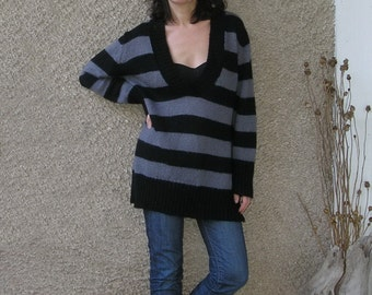 Vintage acrylic-mohair long sweater, size L, ON SALE