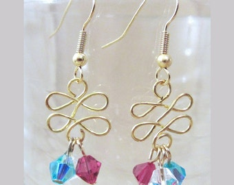 Gold Twists & Multi-colored Crystals Pierced Dangle Earrings, Handmade Original Fashion Jewelry, Quirky Unique Abstract Ladies Gift Idea