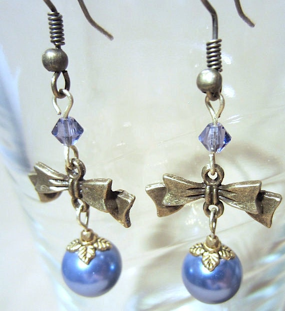 Bronze Bow, Colored Pearl & Matching Crystal Accent Dangle Earrings, Handmade Original Fashion Jewelry, Adorable Ladies Gift Custom Wedding