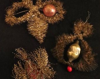 Three Antique Victorian Tinsel Ornaments Including a Bird