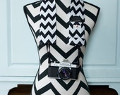 Camera Strap Cover- lens cap pocket and padding included- Black and White Chevron