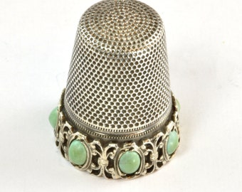 Vintage 800 Silver Sewing Thimble with Turquoise - C1950 - Vintage Sewing or Quilters Accessories - Gift for Mom