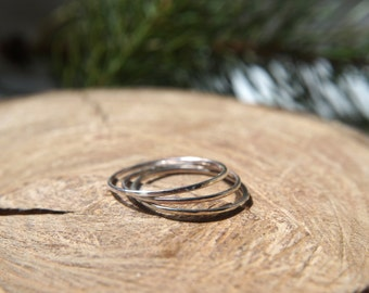 Set of 3 thin hammered stacking rings / Dainty rings / Sterling Silver / Knuckle ring / Stackable ring / Gift for her