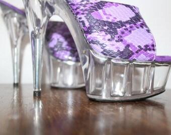 Purple Python - Snakeskin Platform Stilettos - See Through - Clear Resin - High Heels - UK 4 EUR 37
