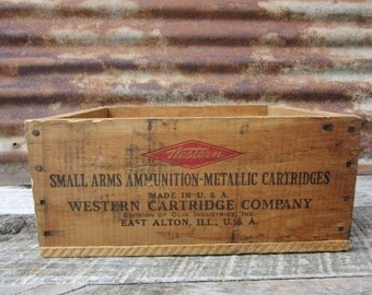 Antique Wood Crate Western Cartridge Company 22 Long Rifle Ammunition Crate Old Ammo Wood Box Rustic Farm Primitive Vintage vtg 1900s