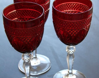 Cristal D' Arques Durand Red Goblets - Wine Glasses Set of 6