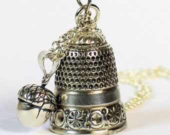 Peter Pan Acorn and Thimble Hidden Kisses Necklace Solid Sterling Silver