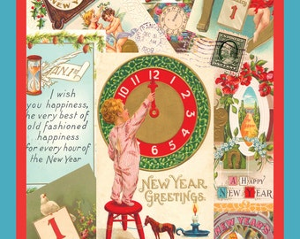 "Happy NEW YEAR Greeting Post Cards POSTCARDS.  Antique Images.  Full color! Glossy, Premium card stock.  4.25"" x 5.5"".  Set of 2."