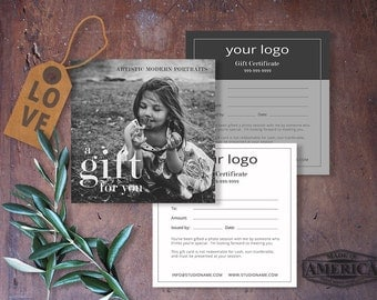 Gift Certificate Photography, Gift Certificate Template, Gift Certificate Card, Photoshop Template, GC101, INSTANT DOWNLOAD