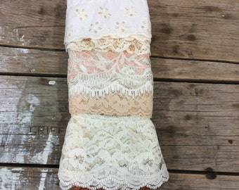Lace Trim, Various Trim ends of Lace, craft, sewing, doll clothes, peach and beige