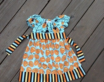 3T Halloween Peasant Dress with Sash, Ready to Ship, Size 3T, Pumpkins, Witch