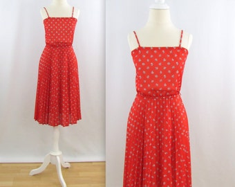 Strawberry Fields Pleated Dress - Vintage 1970s Red Floral Summer Dress in Small